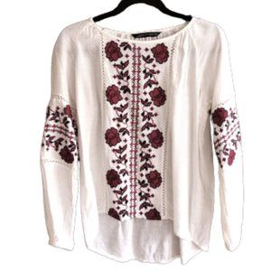 Zara embroidered floral peasant tunic top XS